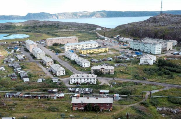 """Panorama view of """"New"""" Teriberka, August 2016"""