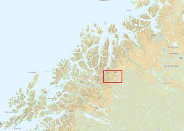 Figure 1: Overview over parts of northern Norway. The actual area highlighted in red.