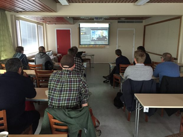 The group at Vardø Hotel listening to presentations. Photo: Christer Hurthi Karlsen